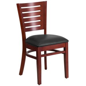 Mahogany Finished Slat Back Wooden Restaurant Chair with Wood, Vinyl Seat