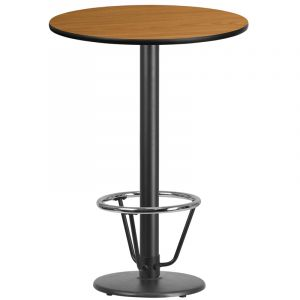30'' Round Laminate Table Top with 18'' Round Bar Height Table Base and Foot Ring