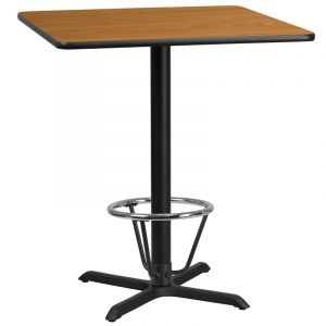 36'' Square Laminate Table Top with 30'' x 30'' Bar Height Table Base and Foot Ring