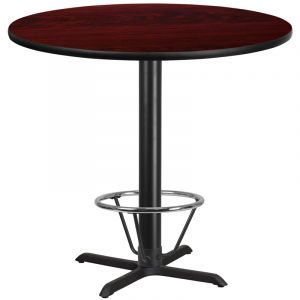 42'' Round Laminate Table Top with 33'' x 33'' Bar Height Table Base and Foot Ring