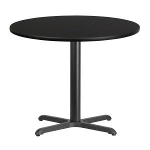 36'' Round Laminate Table Top with 30'' x 30'' Table Height Base -Black