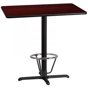 30'' x 42'' Rectangular Laminate Table Top with 22'' x 30'' Bar Height Table Base and Foot Ring