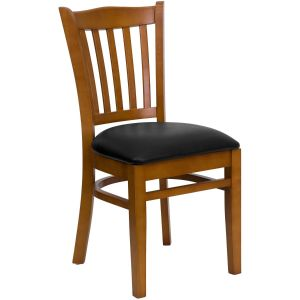 Cherry Finished Vertical Slat Back Wooden Restaurant Chair with Wood, Vinyl Seat