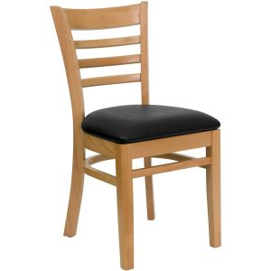 Natural Wood Finished Ladder Back Wooden Restaurant Chair with Vinyl Seat