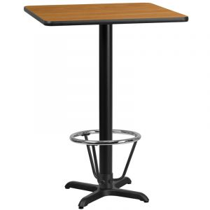 24'' Square Laminate Table Top with 22'' x 22'' Bar Height Table Base and Foot Ring