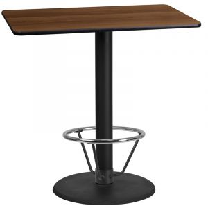 24'' x 42'' Rectangular Laminate Table Top with 24'' Round Bar Height Table Base and Foot Ring
