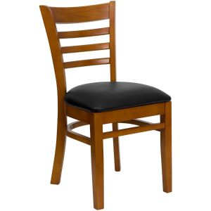 Cherry Finished Ladder Back Wooden Restaurant Chair with Vinyl Seat