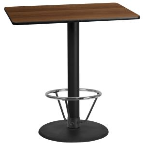 30'' x 45'' Rectangular Laminate Table Top with 24'' Round Bar Height Table Base and Foot Ring