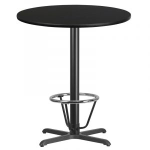 36'' Round Laminate Table Top with 30'' x 30'' Bar Height Table Base and Foot Ring