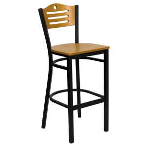 Black Slat Back Metal Restaurant Barstool with Natural Wood Back & Wood, Vinyl Seat