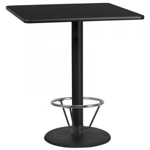 36'' Square Laminate Table Top with 24'' Round Bar Height Table Base and Foot Ring
