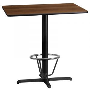 24'' x 42'' Rectangular Laminate Table Top with 22'' x 30'' Bar Height Table Base and Foot Ring