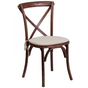 Stackable Wood Cross Back Chair with Cushion