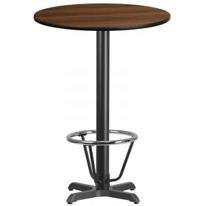 30'' Round Laminate Table Top with 22'' x 22'' Bar Height Table Base and Foot Ring