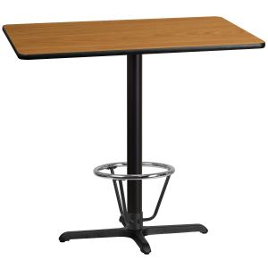 30'' x 45'' Rectangular Laminate Table Top with 22'' x 30'' Bar Height Table Base and Foot Ring