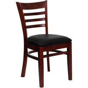 Mahogany Finished Ladder Back Wooden Restaurant Chair with Vinyl Seat
