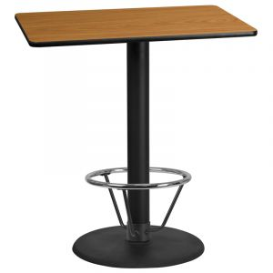 30'' x 42'' Rectangular Laminate Table Top with 24'' Round Bar Height Table Base and Foot Ring