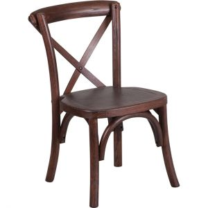 Stackable Kids Mahogany Wood Cross Back Chair