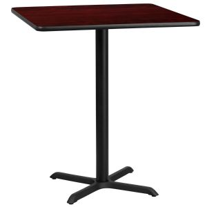 36'' Square Laminate Table Top with 30'' x 30'' Bar Height Base