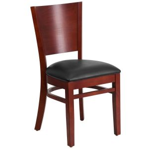 Mahogany Finished Solid Back Wooden Restaurant Chair with Vinyl Seat