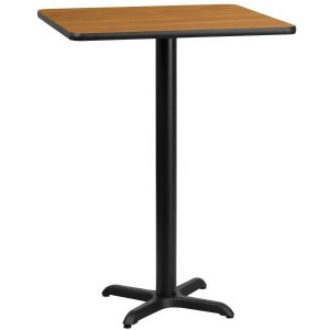 24'' Square Laminate Table Top with 22'' x 22'' Bar Height Base