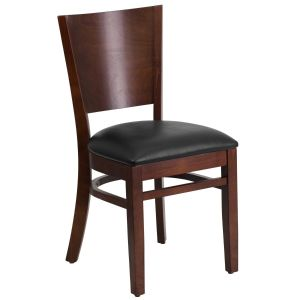 Walnut Finished Solid Back Wooden Restaurant Chair with BVinyl Seat