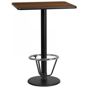 24'' x 30'' Rectangular Laminate Table Top with 18'' Round Bar Height Table Base and Foot Ring