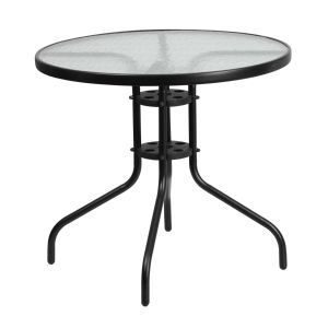 31.5'' Round Tempered Glass Metal Table