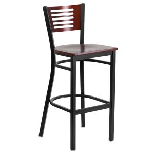 Black Decorative Slat Back Metal Restaurant Barstool with Mahogany Wood Back, Wood and Vinyl Seat