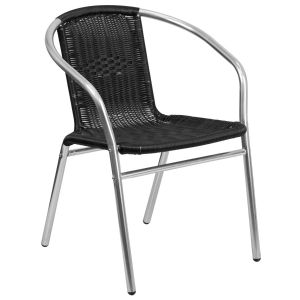 Commercial Aluminum and Black Rattan Indoor-Outdoor Restaurant Stack Chair