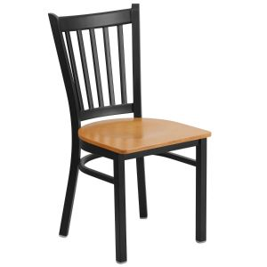 Black Vertical Back Metal Restaurant Chair with Wood, Vinyl Seat