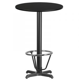 24'' Round Laminate Table Top with 22'' x 22'' Bar Height Table Base and Foot Ring