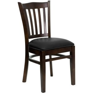 Walnut Finished Vertical Slat Back Wooden Restaurant Chair with Vinyl, Wood Seat
