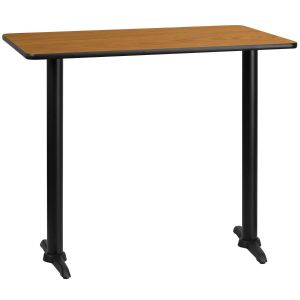 30'' x 48'' Rectangular Laminate Table Top with 5'' x 22'' Bar Height Bases