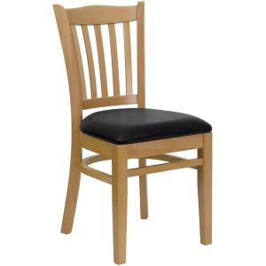 Natural Wood Finished Vertical Slat Back Wooden Restaurant Chair with Wood, Vinyl Seat