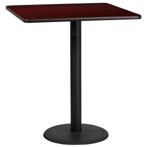 36'' Square Laminate Table Top with 24'' Round Bar Height Base
