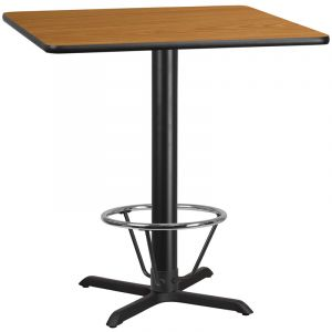 42'' Square Laminate Table Top with 33'' x 33'' Bar Height Table Base and Foot Ring