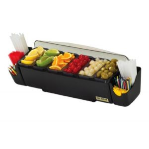 San Jamar BD4006S The Dome Garnish Center w/ 2 Straw Caddies