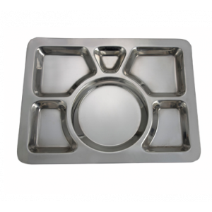 "Winco SMT-1 6-Compartment Mess Tray, 15-1/2"" x 11-1/2"", Style A - Stainless Steel"