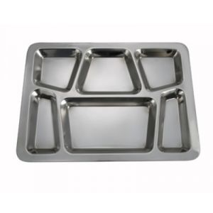 "Winco SMT-2 6-Compartment Mess Tray, 15-1/2"" x 11-1/2"", Style B - Stainless Steel"