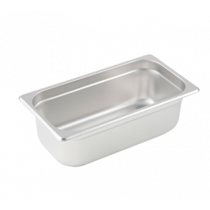 "Winco SPJL-304 Steam Table Pan, 1/3 Size, 4"" Deep - Stainless Steel"