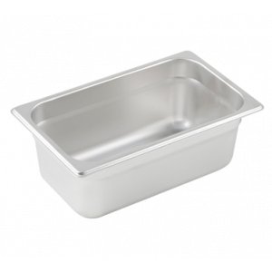 "Winco SPJL-404 Steam Table Pan, 1/4 Size, 4"" Deep - Stainless Steel"