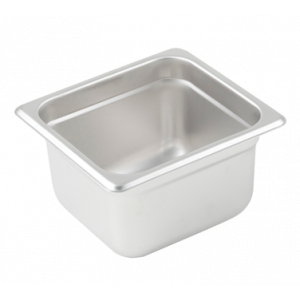 "Winco SPJL-604 Steam Table Pan, 1/6 Size, 4"" Deep - Stainless Steel"