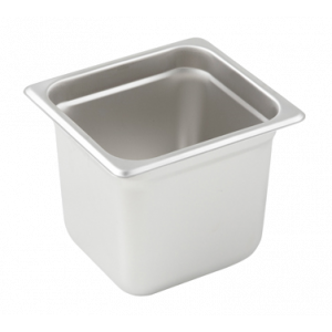 "Winco SPJL-606 Steam Table Pan, 1/6 Size, 6"" Deep - Stainless Steel"