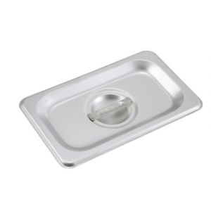 Winco SPSCN Solid Steam Table Pan Cover w/ Handle, 1/9 Size - Stainless Steel