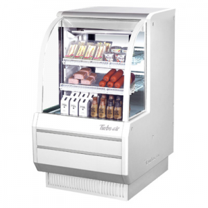 "Turbo Air TCDD-36H-W(B)-N 36-1/2"" High-Profile Curved Glass Refrigerated Deli Display Case, White - 10.2 Cu. Ft."