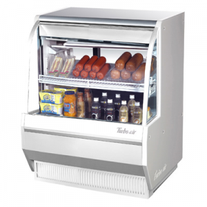 "Turbo Air TCDD-36L-W(B)-N 36-1/2"" Low-Profile Curved Glass Refrigerated Deli Display Case, White - 6.8 Cu. Ft."