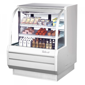 "Turbo Air TCDD-48H-W(B)-N 48-1/2"" High-Profile Curved Glass Refrigerated Deli Display Case, White - 13.9 Cu. Ft."