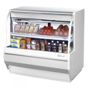 "Turbo Air TCDD-48H-W(B)-N 48-1/2"" Low-Profile Curved Glass Refrigerated Deli Display Case, White - 9.3 Cu. Ft."