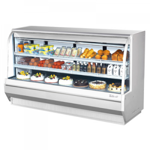 "Turbo Air TCDD-96H-W(B)-N 96-1/2"" High-Profile Curved Glass Refrigerated Deli Display Case, White - 28.8 Cu. Ft."